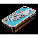 Coque Apple iPhone 4S Luxe Paon Diamant Bling Housse Rigide - Bleu