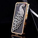 Coque Apple iPhone 4S Luxe Paon Diamant Bling Housse Rigide - Noire