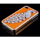 Coque Apple iPhone 4S Luxe Paon Diamant Bling Housse Rigide - Orange