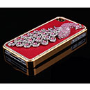 Coque Apple iPhone 4S Luxe Paon Diamant Bling Housse Rigide - Rouge