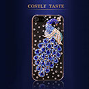 Coque Apple iPhone 5 Luxe Paon Diamant Bling Etui Rigide - Bleu