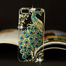 Coque Apple iPhone 5 Luxe Paon Diamant Bling Etui Rigide - Bleue Ciel