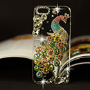 Coque Apple iPhone 5 Luxe Paon Diamant Bling Etui Rigide - Colorful