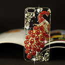 Coque Apple iPhone 5 Luxe Paon Diamant Bling Etui Rigide - Rouge