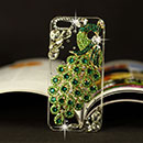 Coque Apple iPhone 5 Luxe Paon Diamant Bling Etui Rigide - Verte