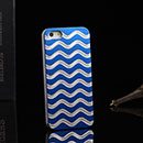 Coque Apple iPhone 5 Vague Aluminium Metal Plated Housse Rigide - Bleu