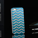 Coque Apple iPhone 5 Vague Aluminium Metal Plated Housse Rigide - Bleue Ciel