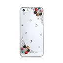 Coque Apple iPhone 5S Luxe Fleurs Diamant Bling Etui Rigide - Blanche