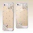 Coque Apple iPhone 5S Luxe Fleurs Diamant Bling Etui Rigide - Clear