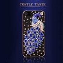 Coque Apple iPhone 5S Luxe Paon Diamant Bling Etui Rigide - Bleu