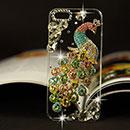 Coque Apple iPhone 5S Luxe Paon Diamant Bling Etui Rigide - Colorful