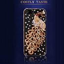 Coque Apple iPhone 5S Luxe Paon Diamant Bling Etui Rigide - Jaune