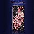 Coque Apple iPhone 5S Luxe Paon Diamant Bling Etui Rigide - Rose Chaud