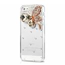 Coque Apple iPhone 5S Luxe Papillon Diamant Bling Etui Rigide - Brown