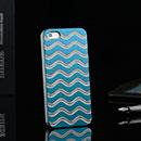 Coque Apple iPhone 5S Vague Aluminium Metal Plated Housse Rigide - Bleue Ciel