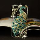 Coque Apple iPhone 6 Plus Luxe Paon Diamant Bling Etui Rigide - Bleu