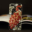 Coque Apple iPhone 6 Plus Luxe Paon Diamant Bling Etui Rigide - Rouge