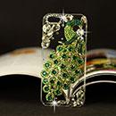 Coque Apple iPhone 6 Plus Luxe Paon Diamant Bling Etui Rigide - Verte