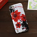 Coque Apple iPod Touch 5 Fleurs Silicone Housse Gel - Rouge