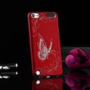 Coque Apple iPod Touch 5 Papillon Plastique Etui Rigide - Rouge