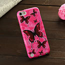 Coque Apple iPod Touch 5 Papillon Silicone Housse Gel - Rose Chaud