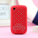 Coque Blackberry Curve 8520 Diamant Bling Silicone Housse Gel - Rouge