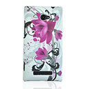 Coque HTC 8X Windows Phone Fleurs Plastique Etui Rigide - Pourpre