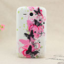 Coque HTC Chacha G16 A810e Papillon Silicone Housse Gel - Noire