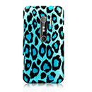 Coque HTC EVO 3D G17 Leopard Etui Rigide - Bleu
