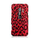 Coque HTC EVO 3D G17 Leopard Etui Rigide - Rouge