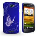 Coque HTC One S Papillon Plastique Etui Rigide - Bleu