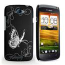 Coque HTC One S Papillon Plastique Etui Rigide - Noire