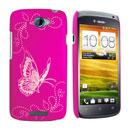 Coque HTC One S Papillon Plastique Etui Rigide - Rose Chaud