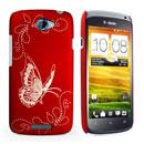 Coque HTC One S Papillon Plastique Etui Rigide - Rouge