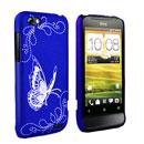 Coque HTC One V Papillon Plastique Etui Rigide - Bleu
