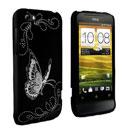 Coque HTC One V Papillon Plastique Etui Rigide - Noire