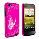 Coque HTC One V Papillon Plastique Etui Rigide - Rose Chaud