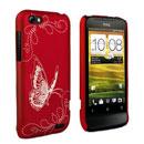 Coque HTC One V Papillon Plastique Etui Rigide - Rouge