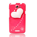 Coque HTC One X Luxe Amour Diamant Bling Etui Rigide - Rouge