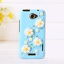 Coque HTC One X Luxe Fleurs Diamant Bling Etui Rigide - Bleue Ciel