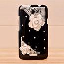 Coque HTC One X Luxe Fleurs Diamant Bling Etui Rigide - Noire