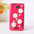 Coque HTC One X Luxe Fleurs Diamant Bling Etui Rigide - Rose Chaud