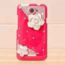 Coque HTC One X Luxe Fleurs Diamant Bling Etui Rigide - Rouge