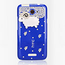 Coque HTC One X Luxe Mouton Diamant Bling Etui Rigide - Bleu