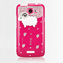 Coque HTC One X Luxe Mouton Diamant Bling Etui Rigide - Rose Chaud