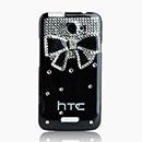 Coque HTC One X Luxe Papillon Diamant Bling Etui Rigide - Blanche