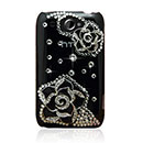 Coque HTC Wildfire G8 Luxe Fleurs Diamant Bling Etui Rigide - Noire