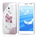 Coque Huawei Ascend D2 Luxe Fleurs Diamant Bling Etui Rigide - Rose