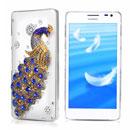 Coque Huawei Ascend D2 Luxe Paon Diamant Bling Etui Rigide - Bleu