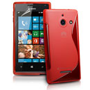 Coque Huawei Ascend W1 Windows Phone S-Line Silicone Gel Housse - Rouge